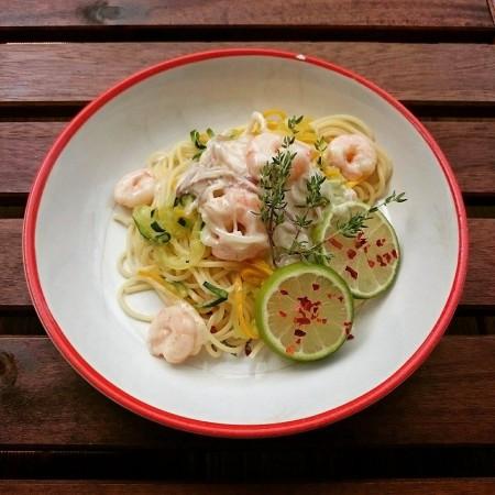 Spaghetti mit Garnelen – Sahne Sauce mit Salbei